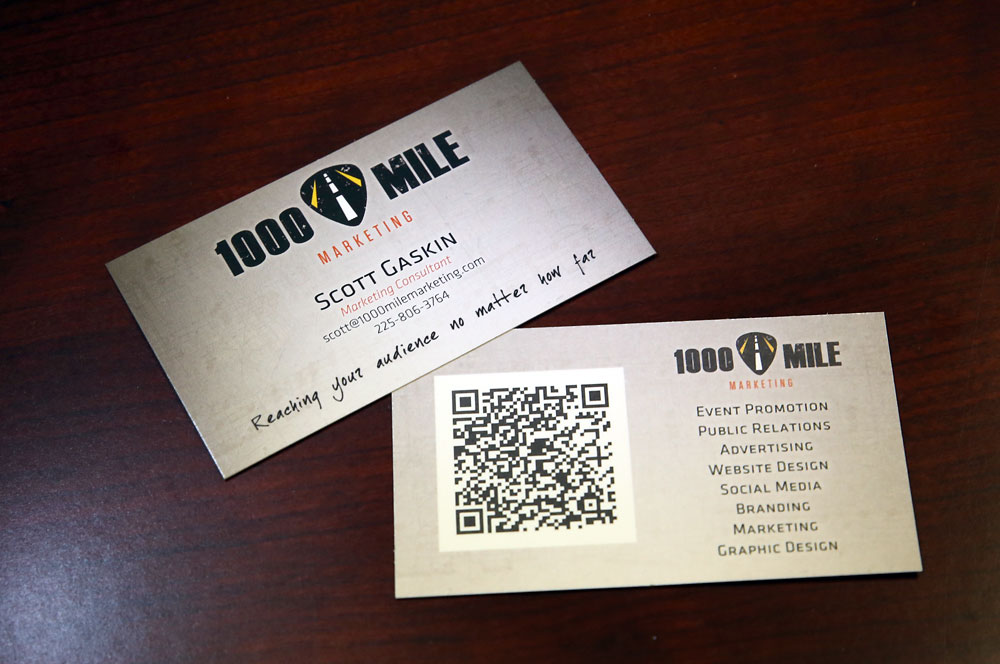 Thousand Mile Marketing business card design